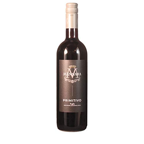 Primitivo IGT Puglia 2018 - Mánnara   trockener Rotwein   italienischer Wein aus Apulien   1 x 0,75...