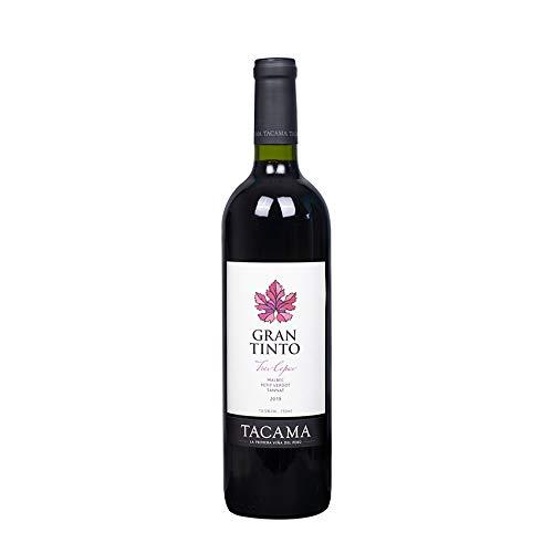 Vino Gran Tinto TACAMA, 13,5% vol., 750ml - Peruanischer Rotwein aus den Rebsorten Malbec, Petit...