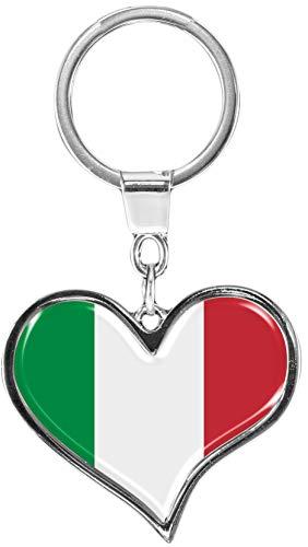 metALUm Premium - Schlüsselanhänger aus Metall'Flagge Italien' in Herz - Form - tolles Geschenk...
