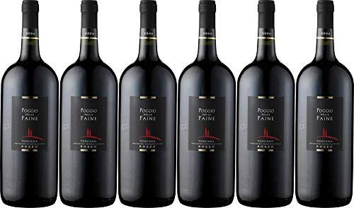 6x Rosso - Magnum - 2013 - Weingut Poggio delle Faine, Toscana - Rotwein