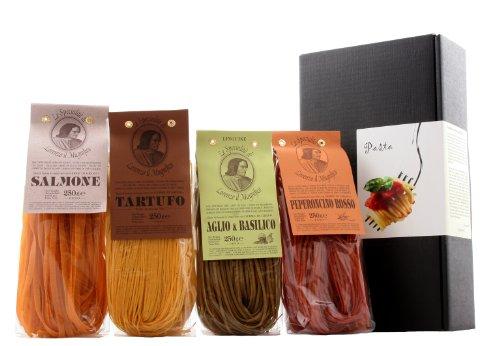 Geschenkset - Nudelkiste - Pasta in 4 Variationen aus Italien (Bandnudeln mit Chili, Lachs, Trüffel...