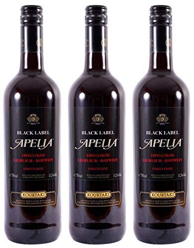 3x 0,75l Black Label Apelia | Lieblicher Rotwein | Imiglykos | 11,5% Vol. | Kourtaki | + 1 x 20ml...