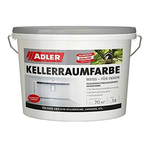 Kellerraumfarbe - weiße, geruchsneutrale Silikatfarbe - 14kg - ohne Lösemittel, Weichmacher und...