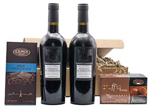 """Präsentkorb """"DOPPIO BENE"""" mit Wein und Schokolade in einem Geschenkkarton   Italienischer..."""