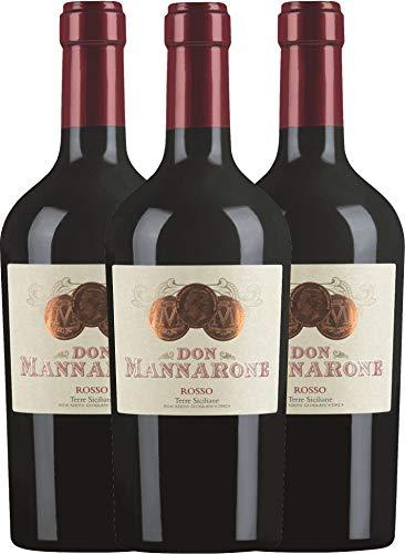 VINELLO 3er Weinpaket Rotwein - Don Mannarone Rosso Terre Siciliane 2019 - Mánnara mit...