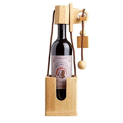 Casa Vivente Flaschenpuzzle aus hellem Holz, Geduldspiel, Verpackung für Weinflaschen, Höhe 35 cm