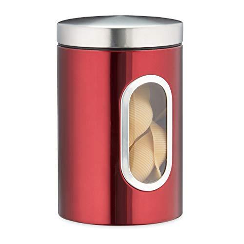 Relaxdays Vorratsdose, mit Deckel & Sichtfenster, 1,4 L, für Kaffee, Mehl, Pasta, Aufbewahrungsdose...