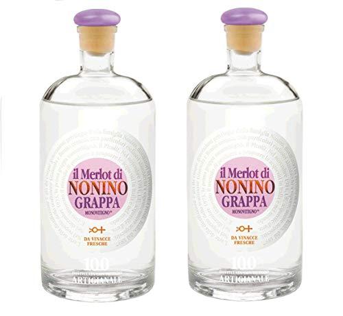 Nonino Distillatori Grappe aus Italien 2er Sparpack Grappa Il Merlot Monovitigno (2 x 0,7 Liter)