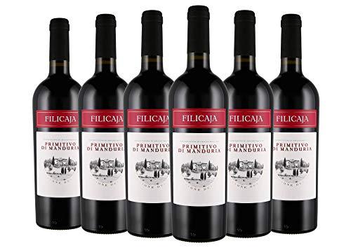 Primitivo di Manduria DOC 2018 - Villa da Filicaja - 6 x 0,75 l. - Italienischer Wein - Apulien...