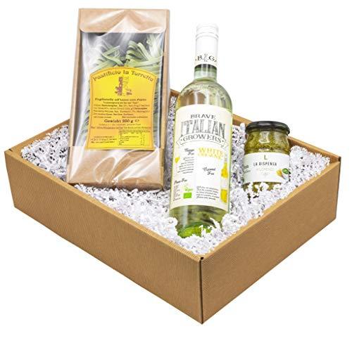 """Weinpräsent Präsentkorb """"Pesto e Vino"""" mit italienischen Spezialitäten: Italienischer..."""