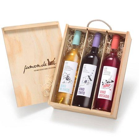 Geschenk für Weinliebhaber | Weingeschenk SPANIEN | Je 1 Flasche Rotwein, Weißwein & Roséwein aus...