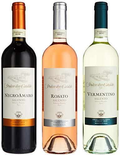 Weinpräsent Podere Don Cataldo - Apulien 3 Flaschen Trockener Wein aus dem Privatweingut der...