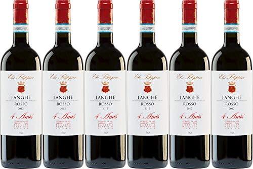 6x Langhe Rosso 4 Amis Magnum in 1er-Holzkiste 2013 - Weingut Elio Filippino, Piemonte - Rotwein