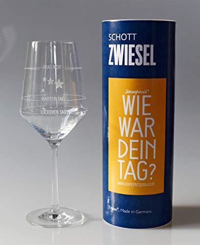 XL Wie war Dein Tag-Weinglas (1x 550ml Glas) von Schott Zwiesel   Made in Germany   Guter Tag,...