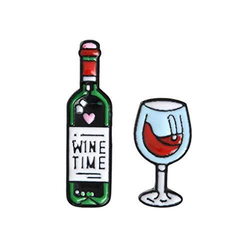 CoSunny Wine Time Anstecknadel für Wein- und Weingläser, Emaille, 2 Stück