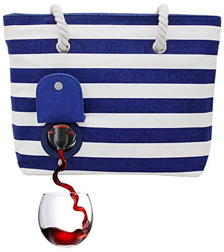 PortoVino Weintasche (Blau/Weiß) - Modisch mit verstecktem, isoliertem Fach für 2 Flaschen Wein...