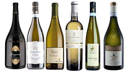 6 er Probierpaket Lugana | Weißwein aus Venetien | trocken | 6 x 0,75 L. | mit Weinausgießer Drop...