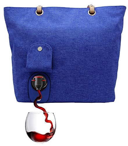 PortoVino Weinhandtasche (Blau) - Modisch mit verstecktem, isoliertem Fach für 2 Flaschen Wein auf...