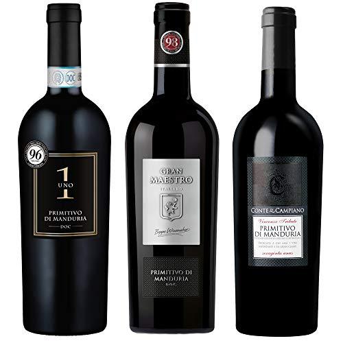 Probierpaket Weingenuss Primitivo di Manduria DOC | Weinpaket mit italienischem Rotwein (3 x 0,75 l...