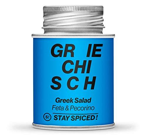 Hochwertiges Greek Salad Gewürze von STAY SPICED ! I Feta & Pecorino Käse I In 170 ml Schraubdose