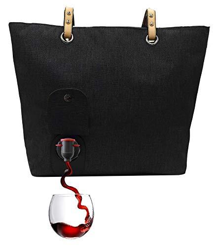 PortoVino Weinhandtasche (Schwartz) - Modisch mit verstecktem, isoliertem Fach für 2 Flaschen Wein...