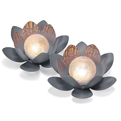 Dekoratives Solar Lotusblüten 2er Set aus Metall - angenehm warmweißes Licht - traumhafte...