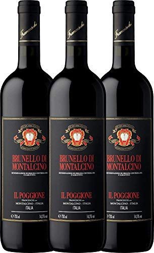 3er Weinpaket Rotwein - Brunello di Montalcino DOCG 2014 - Tenuta il Poggione mit Weinausgießer |...