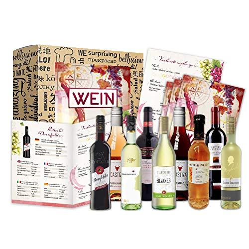 Wein Geschenk Set (9 x 0,25l)   besonderes Weingeschenk Box ausgefallene Geschenkidee für Frauen...