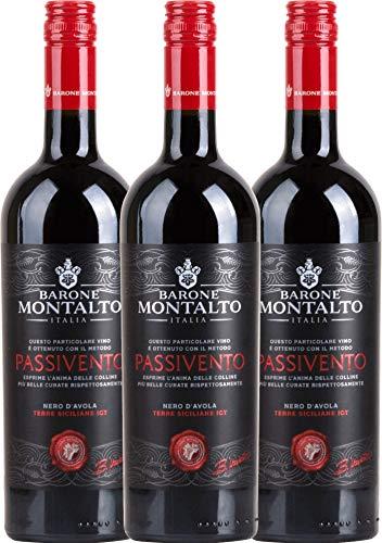 VINELLO 3er Weinpaket Rotwein - Passivento Rosso Terre Siciliane 2019 - Barone Montalto mit...