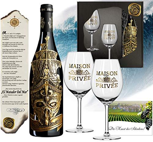 Matador Del Mar Wein-Geschenk mit 2 Kristallgläsern (Echt-Gold) Rotwein-Set Bordeaux Syrah mit...