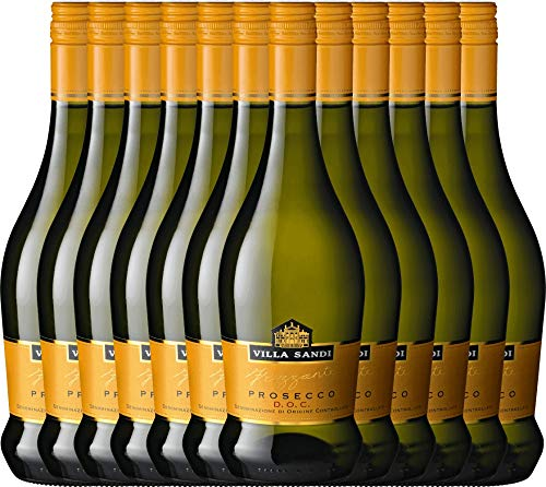 VINELLO 12er Weinpaket Perlwein - Prosecco Frizzante DOC - Villa Sandi mit Weinausgießer  ...