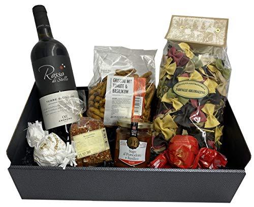 Präsentkorb Italien mit Rotwein, Pasta, Sugo, Grissini, Bruschettagewürz und Ameretti   für einen...