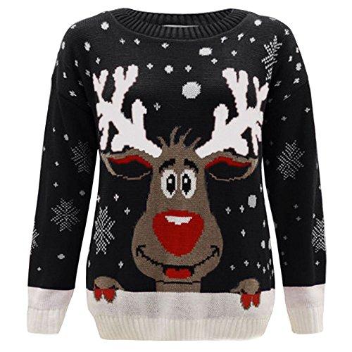Kinder-Strickpullover, unisex, Weihnachtsmotiv: Rudolph Gr. 7-8 Jahre, Rentier schwarz