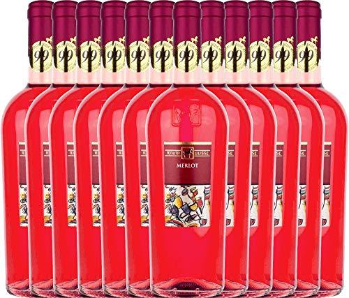 VINELLO 12er Weinpaket Roséwein - Merlot Rosato 2020 - Tenuta Ulisse mit Weinausgießer   trocken...