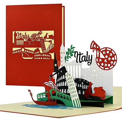 Gutschein, Reisegutschein nach Italien, Rom, Venedig 3D Pop Up Karte Italien Sykline Hotelgutschein...