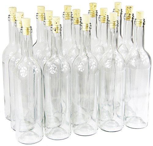 Weinflasche 750 ml ohne/mit Korken Glasflasche leere Flasche Likör Wein 3 Farben (16 Stk. mit...