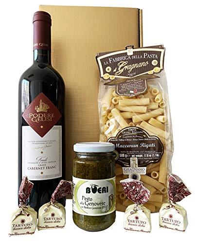 Goldenes Italien Weihnachten Geschenkset CENA PER DUE (Pasta di Gragnano , Rotwein, Pesto, Tartufi)...