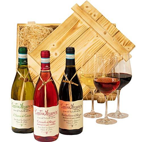 Geschenkset Abruzzo | Weinset mit Holzkiste und 3 ausgezeichneten Weinen (Rot, Weiß, Rosé) aus...