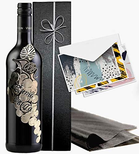 Italien Wein Geschenk L'uva Bella Rotwein Geschenkset Toskana Weinrebe in Silber Luxus Wein für...