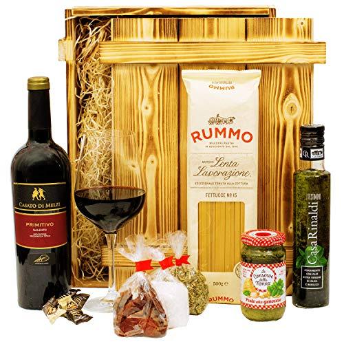 Geschenkset Verona | Italien Geschenkkorb mit Wein, italienische Spezialitäten & Holzkiste |...