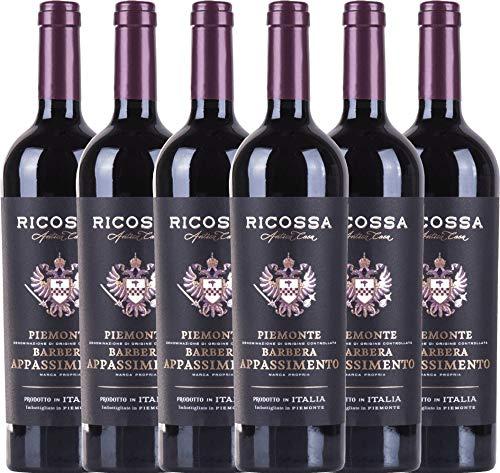 VINELLO 6er Weinpaket Rotwein - Barbera Appassimento DOC 2019 - Ricossa mit Weinausgießer |...