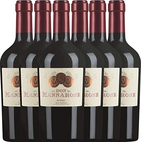 VINELLO 6er Weinpaket Rotwein - Don Mannarone Rosso Terre Siciliane 2019 - Mánnara mit...