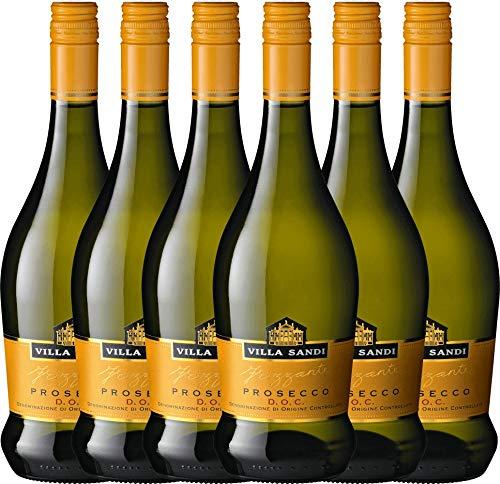 VINELLO 6er Weinpaket Perlwein - Prosecco Frizzante DOC - Villa Sandi mit Weinausgießer  ...