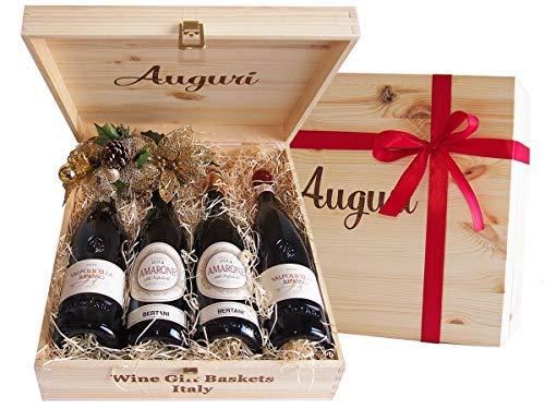 """Wein in Original Holzkiste """"Geschenk Holzkiste Auguri Amarone und Valpolicella Weine Ripasso..."""