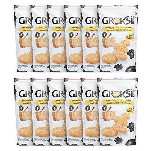 GROKSi! Classico (12x 60g) | laktosefrei | glutenfrei | ohne Kohlenhydrate | Käse-Snack aus Italien...