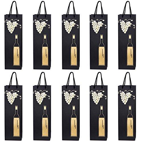 10 Flaschentüten Geschenktüten für Wein Prosecco und Champagner 40 x 12 x 9 cm Weinrebe mit...