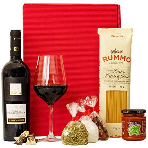 Geschenkset Rom | Italien Geschenkkorb mit Wein und italienischen Spezialitäten | Präsentkorb...