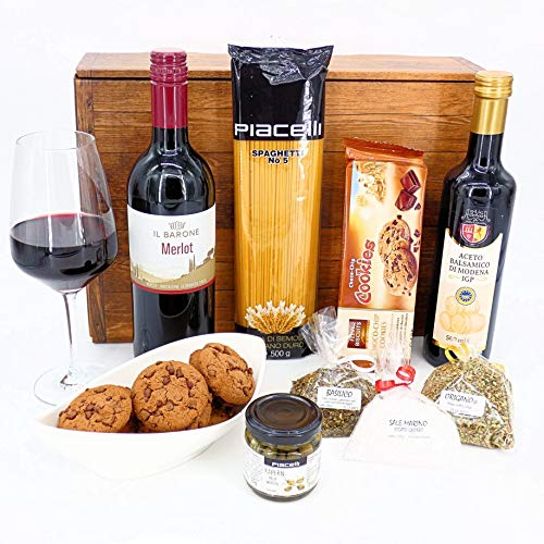 Geschenkset Italien 03   Italienischer Geschenkkorb gefüllt mit Delikatessen und Merlot (1x0.75l)...