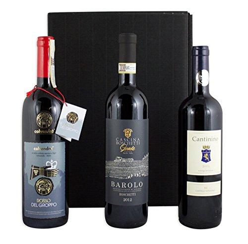 Luxus Wein Geschenkset mit 3 italienischen, preisgekrönten Premium Rotweinen Barolo DOCG 2014,...
