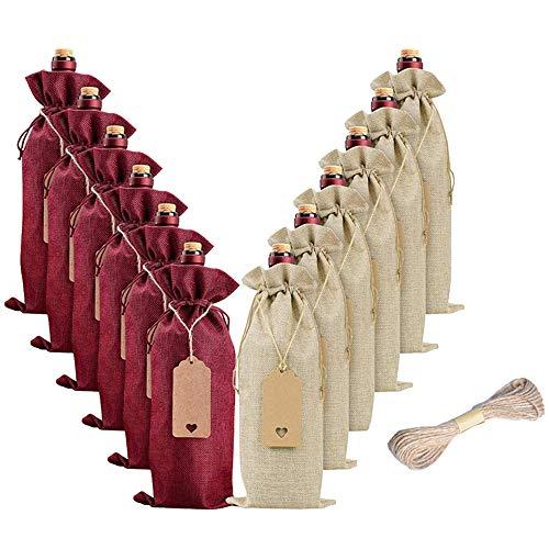 Kirmax 12 Stück Sackleinen Wein Beutel Wein Geschenk Beutel, Wein Flaschen Taschen mit Kordeln,...